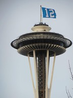 Even the Space Needle gets into the game.