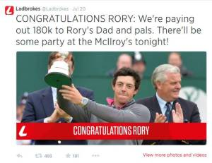 Not sure I'd want it Tweeted I just won a crap-ton of money, but we raise a Guinness to Rory!